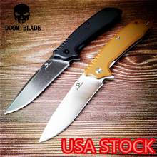 205mm 100% D2 Blade Ball Bearing Knives Folding Knife G10 Handle Knives Camping Survival Hunting Pocket Knife Tactical Knife EDC hot f3 new folding knife tactical knife d2 blade stone wash g10 handle survival camping hunting knives tools free shipping