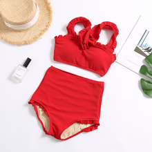 60044019f Maiôs de Cintura alta 2019 Novo Chegada Babados Biquíni Mulheres Swimwear  Vermelho Texturizado Sexy Two Piece