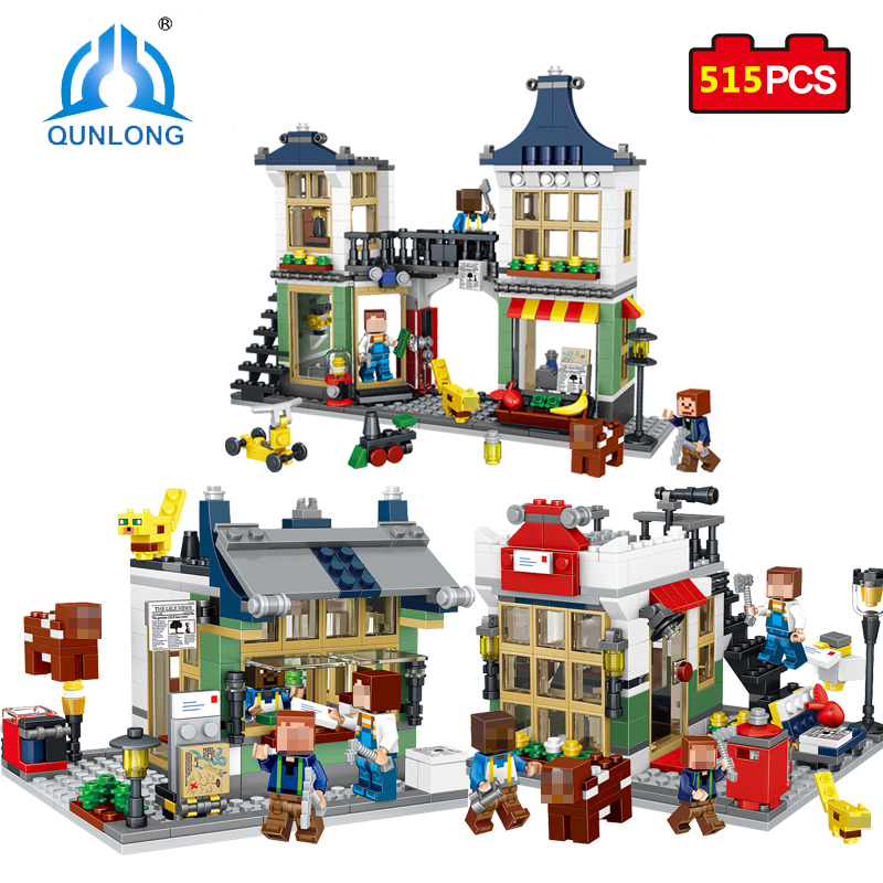 Qunlong Toys Minecrafted City Building Blocks DIY Magic Creative Shop Compatible Legoe Action Figure Educational Toys For Kids 1000g dynamic amazing diy educational toys plasticine indoor magic play do dry sands mars space sands color clay for kids