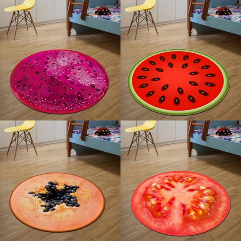 3D Print Round Fruit Kids Bedroom soft Carpets Kitchen Carpet Rugs for Computer Chair Mat rugs and carpets for home living room