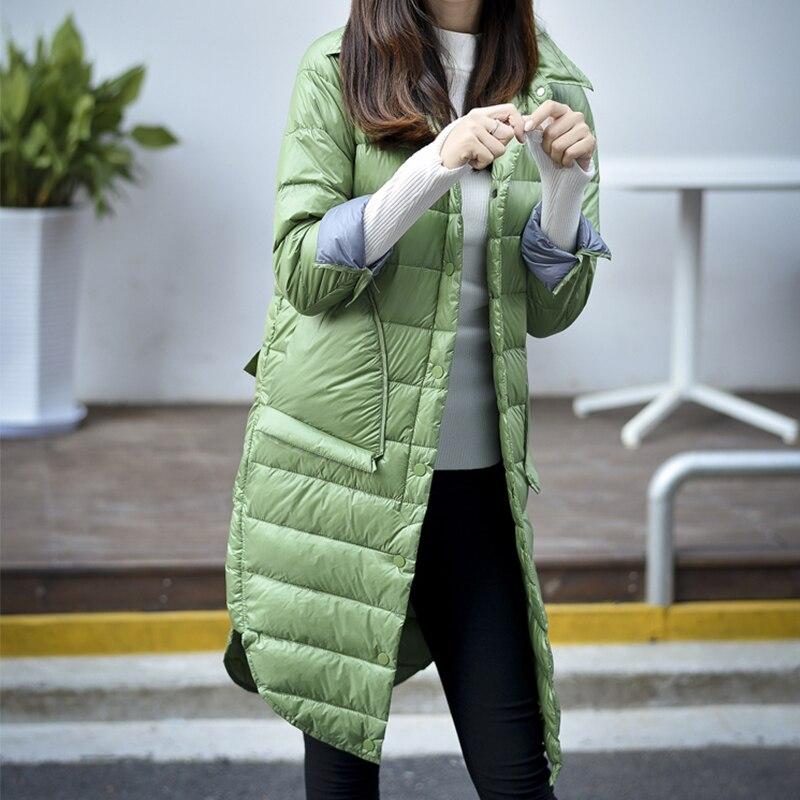 Changyuge осень-зима Для женщин свет Подпушка Мужские парки длинная куртка Для женщин тонкий сплошной Цвет отложной воротник длинный рукав; пуговицы пальто