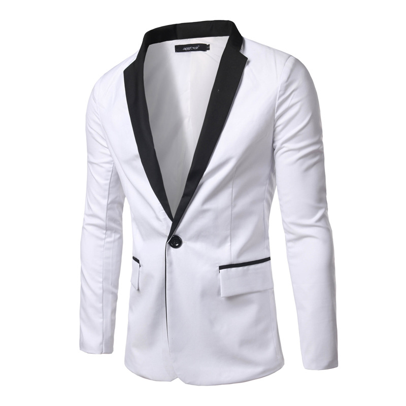 2016 Fashion New White Men Blazer Slim Fit Black Patchwork Collar ...