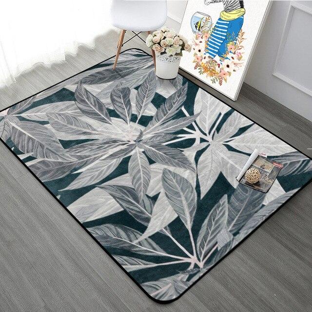 Grau Schwarz Blatt Muster Teppich Teppiche Nordic Frische Stil
