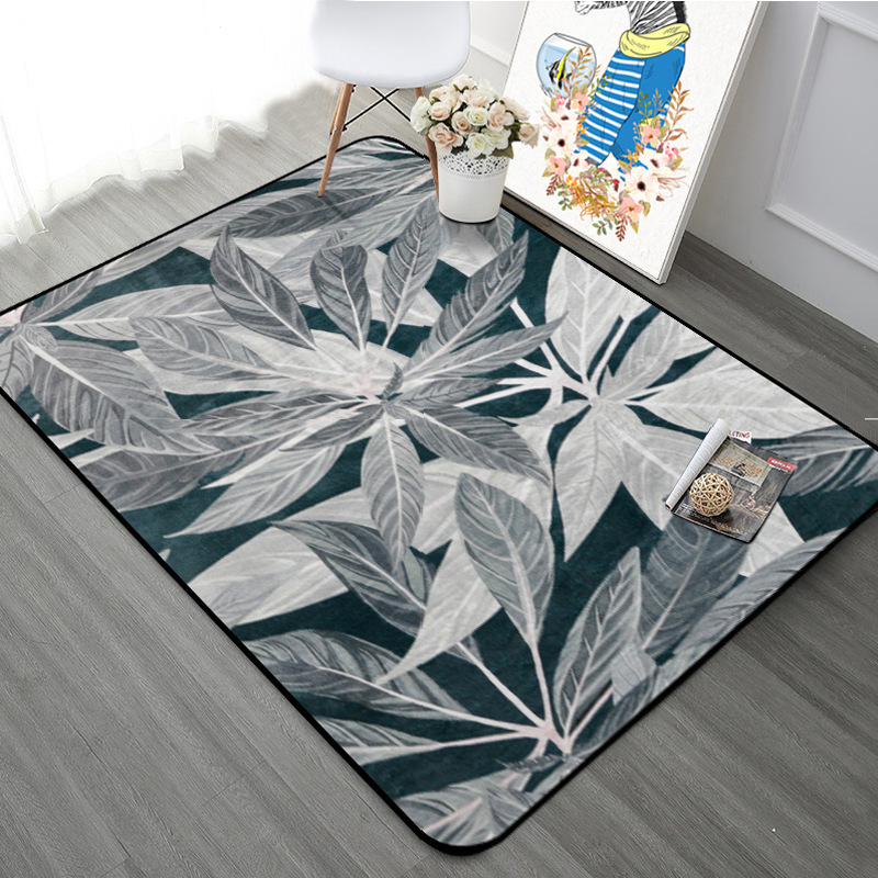 Grey Black Leaf Pattern Carpet Rugs Nordic Fresh Style Living Room Tea Table Mats Home Decor Mat Bedroom Bedside Rectangle Rugs