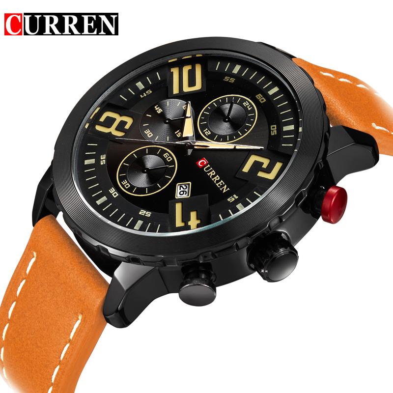 Prix pour Curren montres hommes top marque de luxe vache mâle bracelet en cuir de quartz-montres sport hommes montres relogio masculino 8193