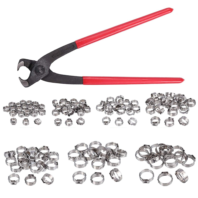 GTBL Single Ear Stepless Hose Clamps 130Pcs 5.8 21Mm 304 Stainless Steel Cinch Clamp Rings Single Ear Hose Clamp Crimper Tool