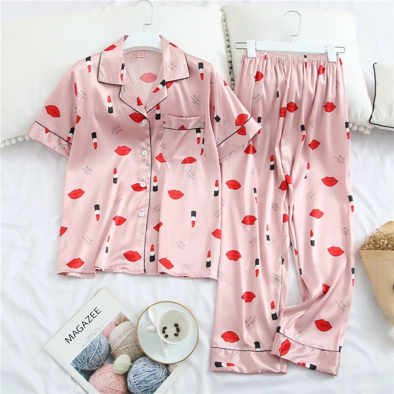 Sexy Silk Satin Women Pajamas Set Printing Pattern Rayon Sleepwear Summer Short Sleeve Pants Suit Nightwear Home Clothing in Pajama Sets from Underwear Sleepwears