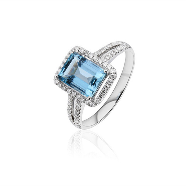 Square Sea blue AAA Zircon CZ Cubic zirconia NEW White Gold plated Rings Wedding Jewelry Bijoux Accessories rings for women