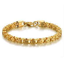 Brand New Trendy Stainless Steel Bike Chain Bracelet for Women/Men 18 K Real Gold Plated Cuff Vintage Jewelry Accessories