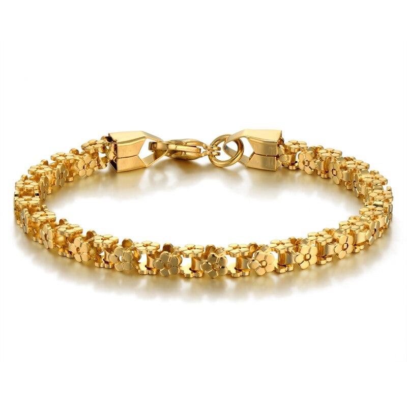 Brand New Trendy Braslet Stainless Steel Bike Chain Link Bracelet for Women/Men Gold Color Box Shape Female Chain Link Bracelets