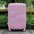 28 pulgadas maleta de Hello kitty, niñas y mujeres equipaje del recorrido maleta trolley, Spinner rodando, Hardside equipaje