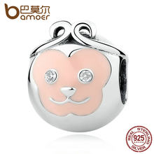 BAMOER Delicate 925 Sterling Silver Charms Naughty Cute Pink Face Monkey Animal Beads fit Bracelets Women Fashion Jewelry SCC107(China)