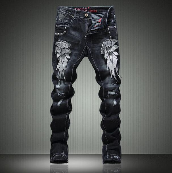 Black spring thin embroidery Straight metal rivet holes jeans mens slim elastic pants male jeans feet