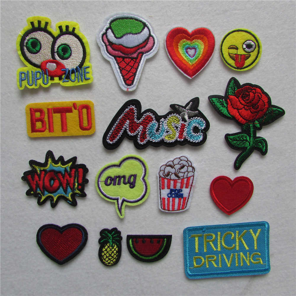 new arrive fashion cartoon patter hot melt adhesive applique embroidery patch DIY clothing accessory patches stripes 1pcs sell