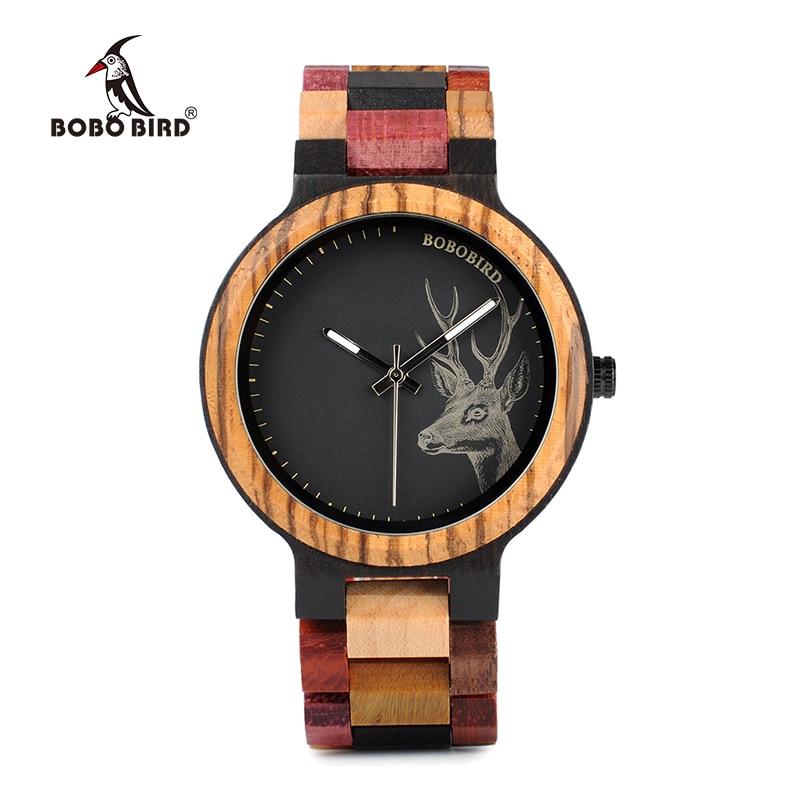 BOBO BIRD P14-2 Deer Collection Wood Watches Date and Week Display Quartz Men Watch with Unique Mixed Color Wooden Band steel band quartz watch with date and week display for men longbo 80146