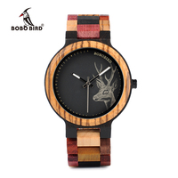 BOBO BIRD P14 2 Deer Collection Wood Watches Date and Week Display Quartz Men Watch with Unique Mixed Color Wooden Band