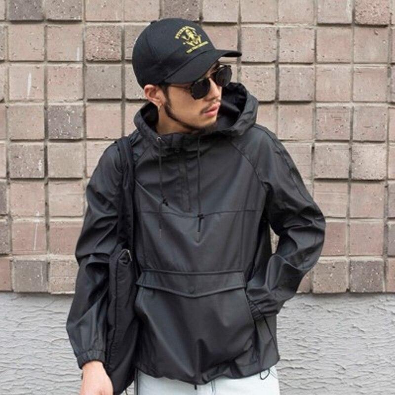 Mens Pullover Hoodies Anorak Rain Resistant Hooded Sweatshirt PU Black Streetwear For Man 2019 Plus Size 5XL