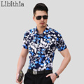 Mens Leaf Pattern Dress Shirts Slim Fit Cotton Casual Short Sleeve Blouse Big Size 7XL Tops Summer Casual Hombre Slim Fit S264