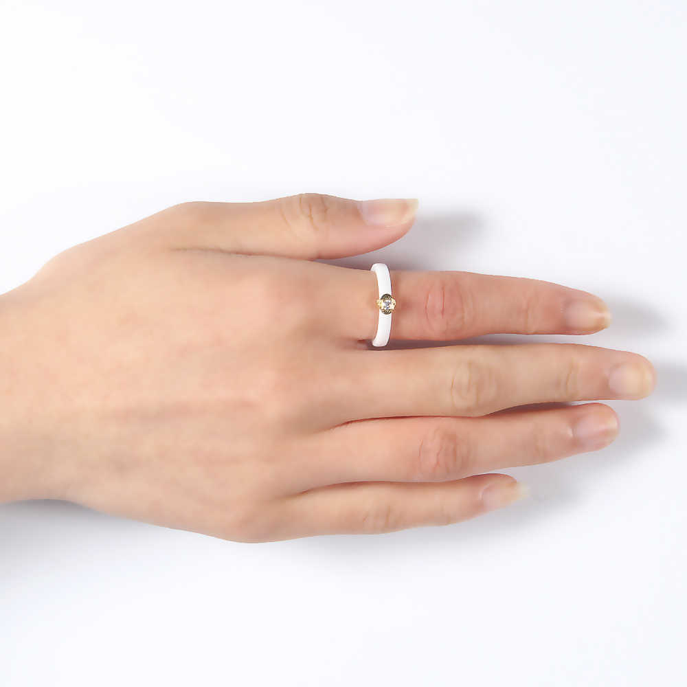ใหม่ 3 มิลลิเมตร Cubic Zirconia หิน Weeding แหวนผู้หญิงสีดำ/สีขาวเซรามิคแฟชั่นแหวนเครื่องประดับ