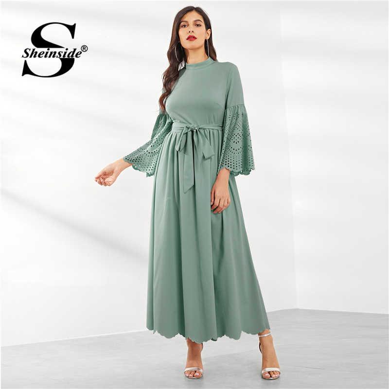Sheinside, платье с лазерным вырезом и зубчатыми рукавами-колокольчиками, женское элегантное зеленое платье макси с оборками, 2019, ТРАПЕЦИЕВИДНОЕ весеннее платье с поясом