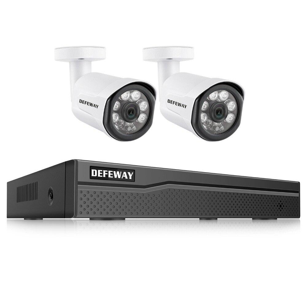купить DEFEWAY HD 1080P 4 Channel POE Video Security System Surveillance DVR KIT 2000TVL Home POE System 2 Cameras 100ft Night Vision по цене 9355.78 рублей