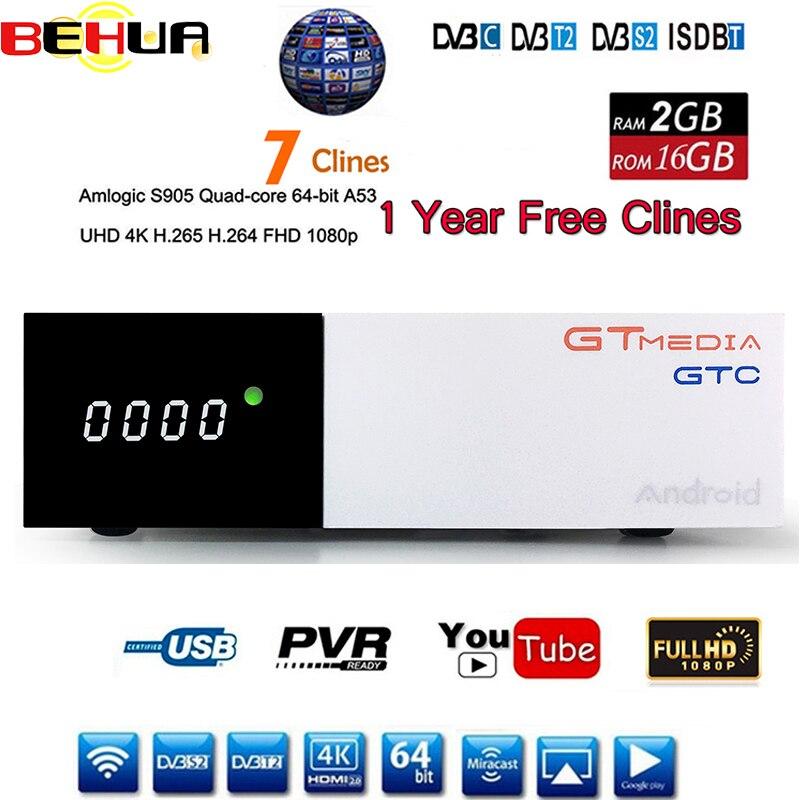 DVB-T2 DVB S2 GTC récepteur Satellite décodeur Bult WIFI HD 1080 p BISSkey Powervu 4 K récepteur Satellite 2 GB 16G android 6.0 TV Box