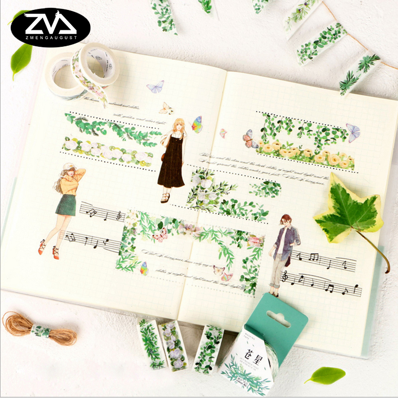 1X Kawaii Green plant life washi tape sticker kawaii DIY scrapbooking planner masking tape office adhesive tape stationery ezone 1pc kawaii watercolor sakura petal washi tape diy decorative scrapbooking sticker planner masking adhesive tape stationery