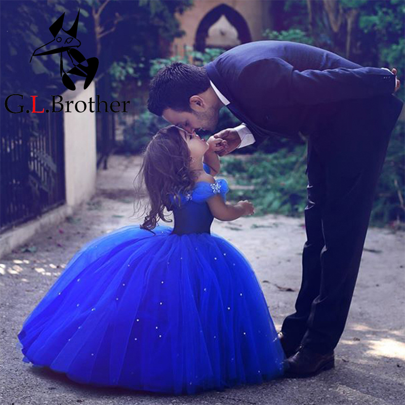 Flower Girls Dress New 2017 Girls Clothes Wedding Dress Blue V-Neck Sleeveless Bridesmaid Girls Dresses For Party Prom IY16