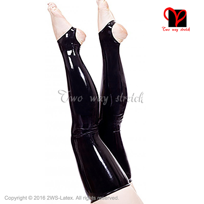 Buy Sexy Latex stockings black Rubber stockings feet open XXL WZ-025