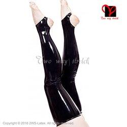 Sexy Latex strümpfe schwarz Gummi strümpfe mit feet offener XXL WZ-025