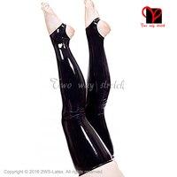 Sexy Latex stockings black Rubber stockings with feet open XXL WZ 025