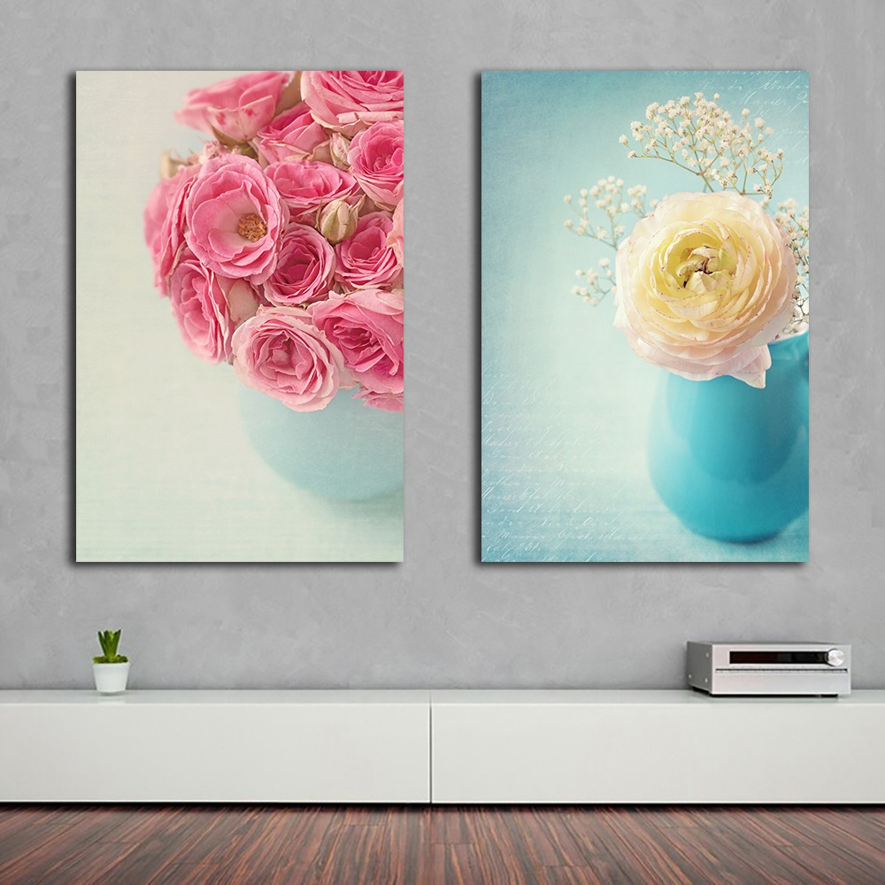 Henna Flower In Vase Modern Print Frameless Canvas Art Oil Painting