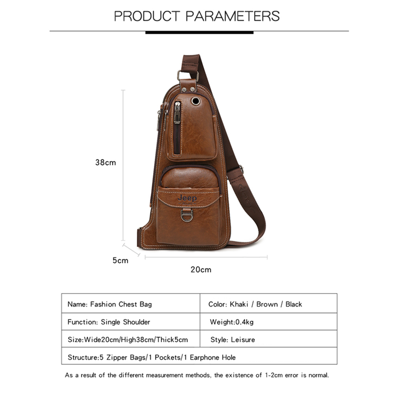 Image 2 - JEEP BULUO BRAND New Men Messenger Bags Hot Crossbody Shoulder Bag Famous Man's Leather Sling Chest Bag Fashion Casual 6196-in Crossbody Bags from Luggage & Bags