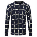 Men Pullover Sweater New 2016 Spring Autumn Knitted Worsted Woolen Brand Casual Slim Fit Thin Plaid Cashmere Sweater F1931