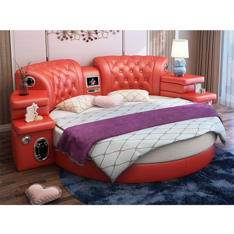 CBMMART King Size Round Bed On Sale, Red Leather Round Bed
