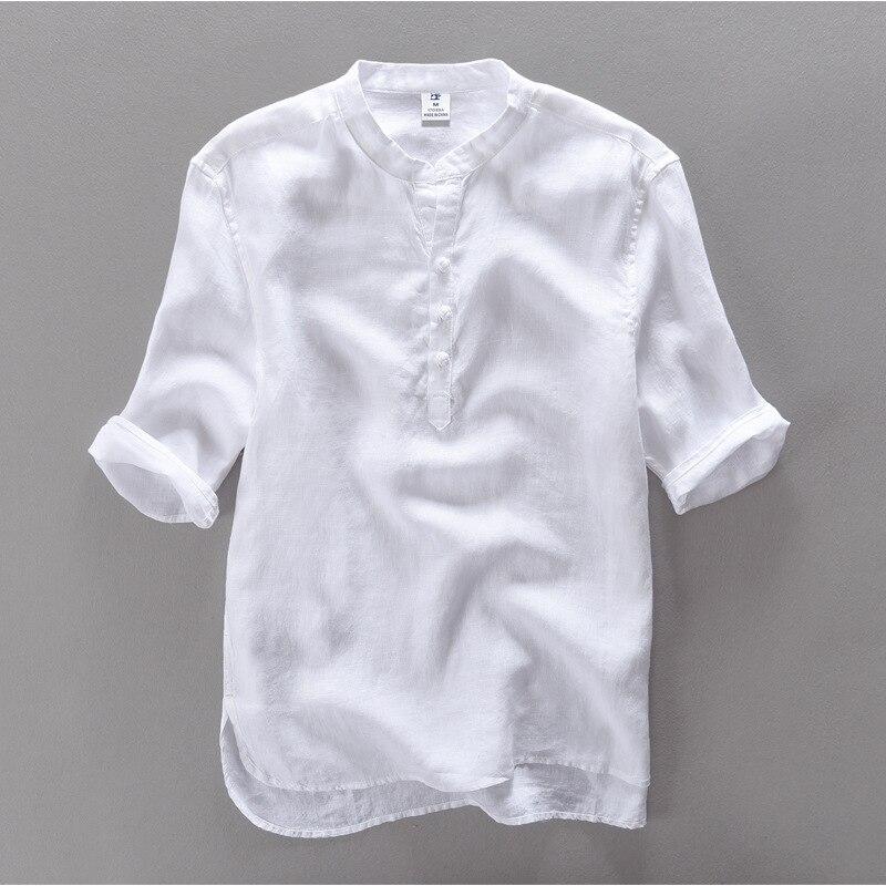 High quality men 39 s 100linen shirts 2016 slim short sleeve for Plus size men shirts