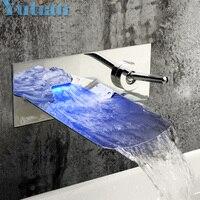 Torneiras wastafel waterval led kraan. Wandmontage 3 kleuren veranderd waterval led tap. Water power basin sink led mix. YT-5042