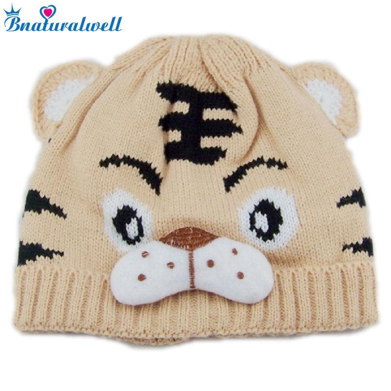 Bnaturalwell Bébé Tricoté Tigre chapeaux Animaux Beanie chapeaux Enfants  Bonnets Carton design Hiver Chaud chapeau Filles Crochet chapeau 1 pc H001 6f1422eb46a