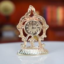 1 Uds 1:12 miniatura de oro reloj de mesa retro de Metal de casa de muñecas de la sala de Readingroom Decoración Accesorios de muebles