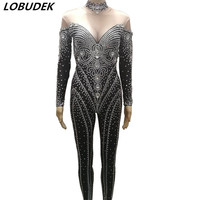 Блестящие стразы черный комбинезон женский кристаллы Корректирующие боди для женщин ночной клуб сценический вечерние костюм певица