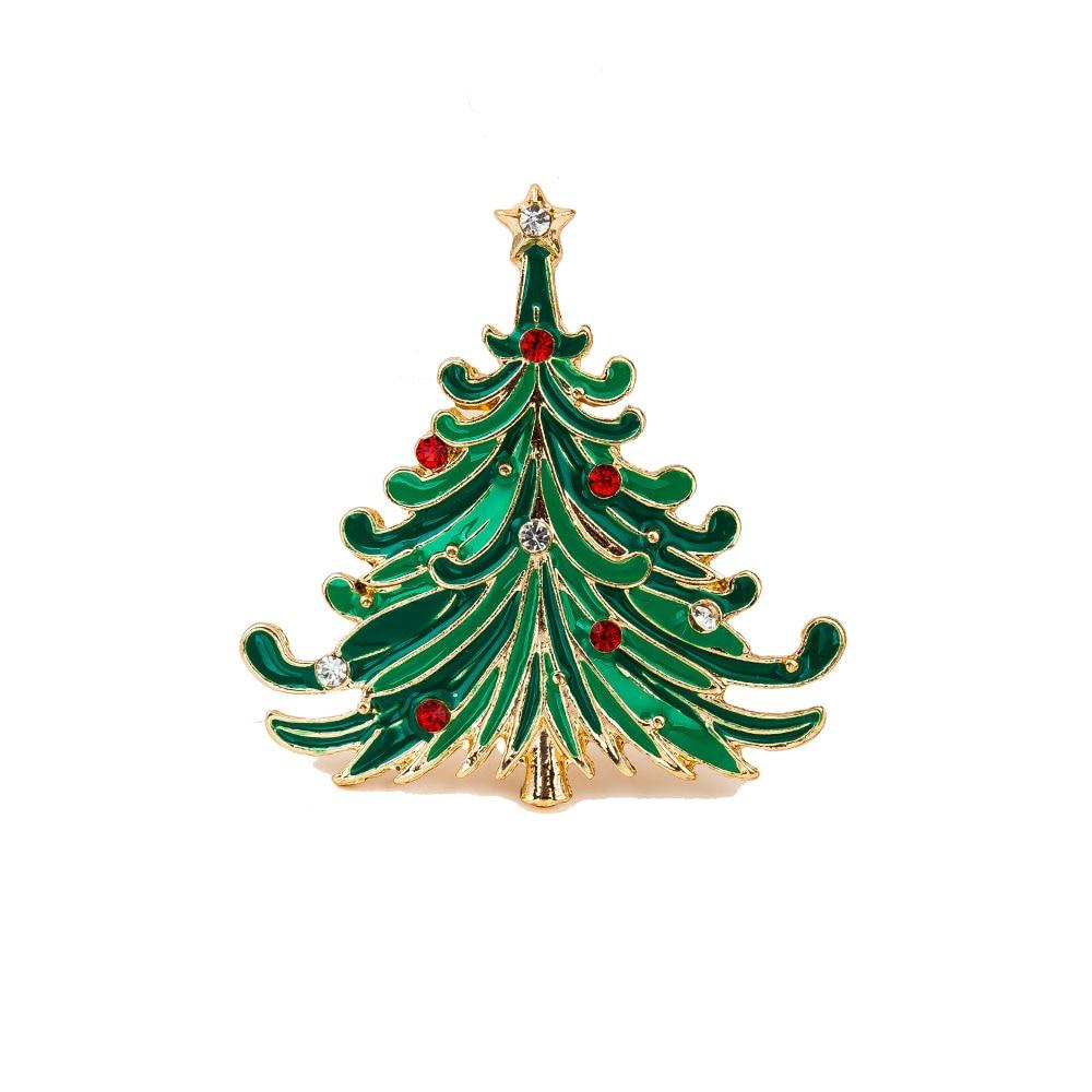 2016 Perempuan Natal Xmas Tree Bentuk Berlian Imitasi Broche Bros Perhiasan Hijau Cat Bros Pins
