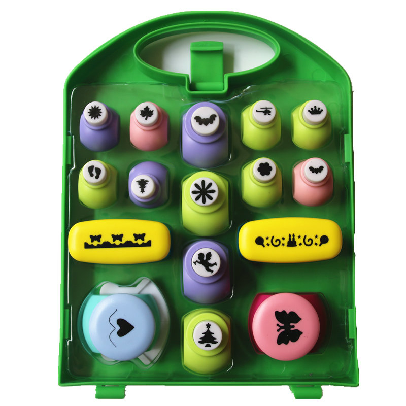 ФОТО Free Shipping Best Gift Paper Punch Sets=16pcs Border Punches Children DIY Toy Shaper Craft Scrapbook In Nice Gift Box