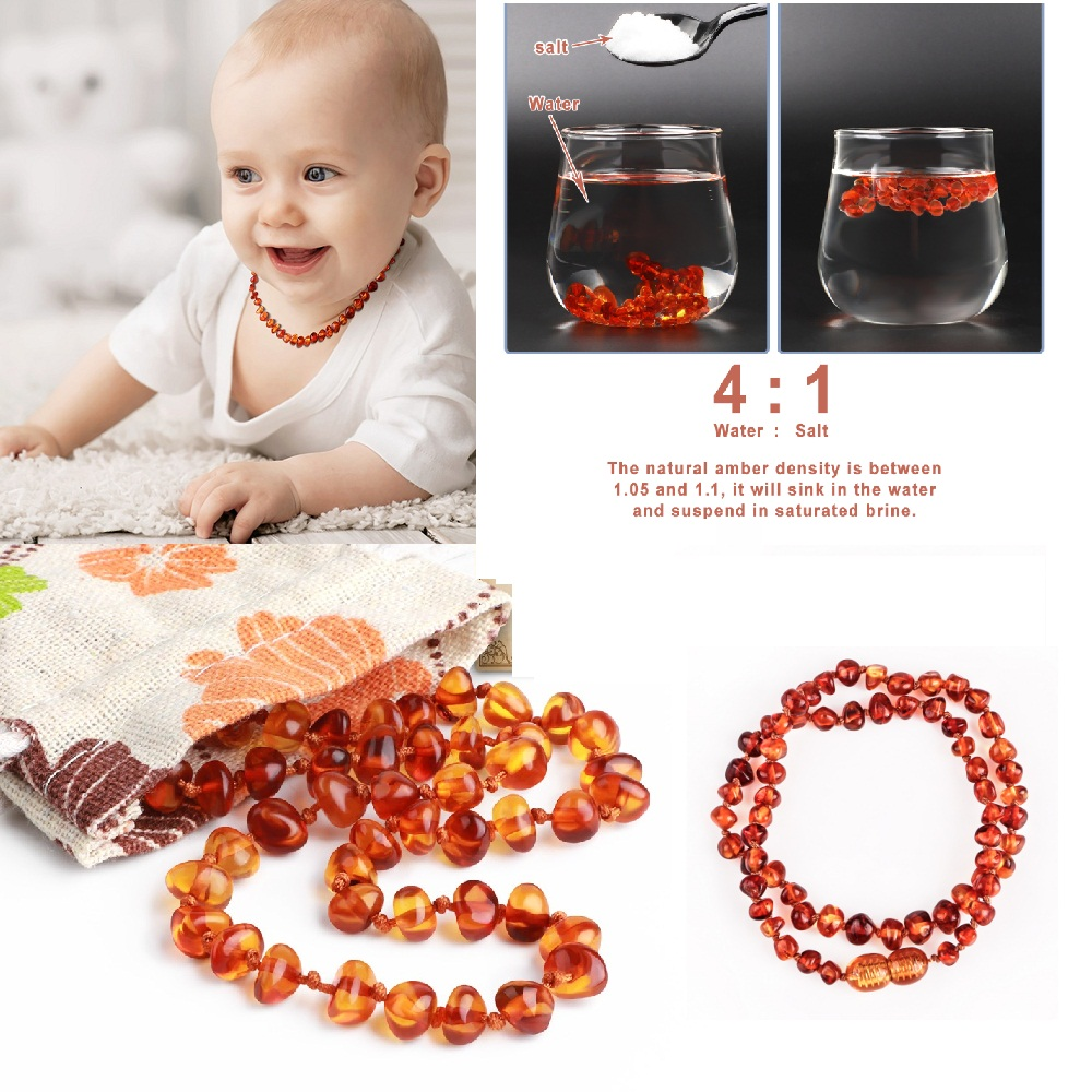 TYRY.HU Baby Wear Boutique Amber Necklace Fashion Jewelry BPA Free Baby Teething Chewed Beads DIY Baby Girl New Year Charm Gift