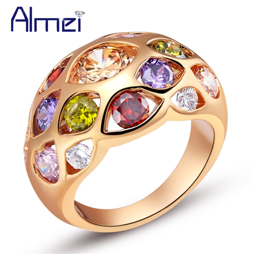 Rainbow Wedding Vintage Ring Rose Gold Color Silver Jewerly for Women Multicolor Anillos De Plata Pink Colored Rings Almei J424