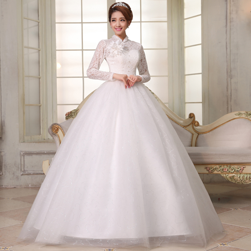 Turtleneck Wedding Gown: 2014 Wedding Long Sleeve Lace Slim Married Slit Neckline