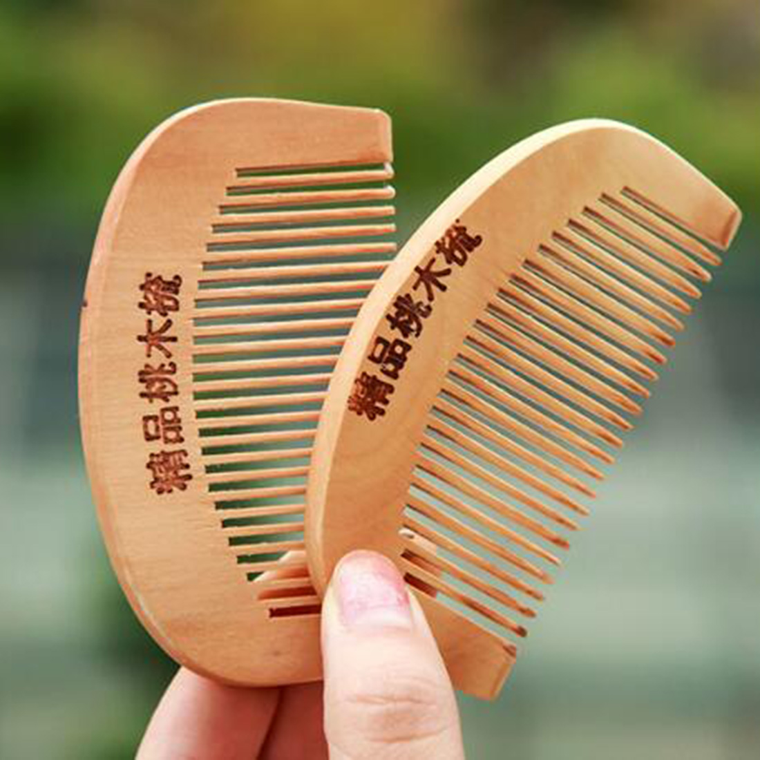Hottest Compact Anti-static Natural Peach Wood Mahogany Hair Comb Pocket Fringe Comb Health Care Head Massage Hair Brush Beauty & Health Combs