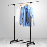 Liplasting Adjustable Rolling Steel Clothes Hanger Organizer Garment Rack Heavy Duty Rail With Wheel Portable Clothes
