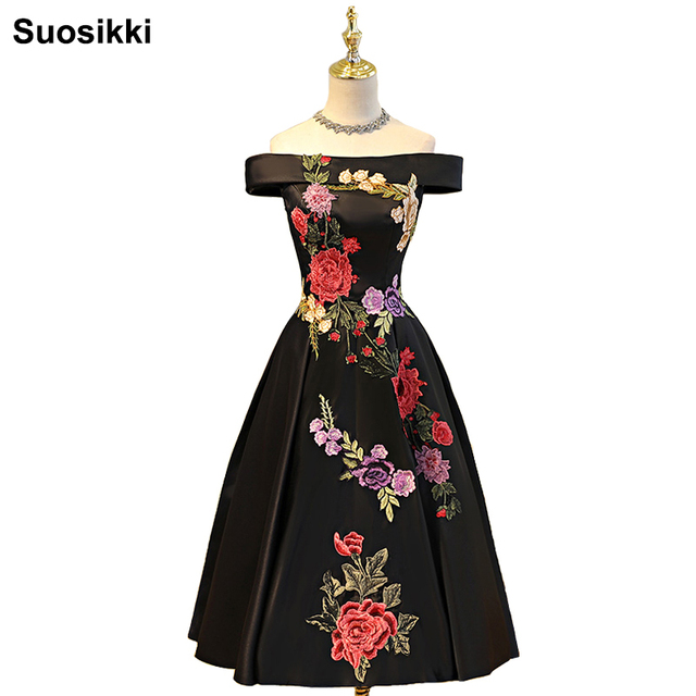 Suosikki Boat Neck Tea-length evening dress 2017 new Appliques Stain Formal Prom Gowns Bestido de festa Abiye Black Evening Gown