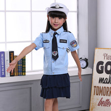 Kids Girls Police Women Uniform Cosplay Costumes Clothing Set 4PCs Dresses for Teenager Girls Halloween Cop Children Clothes(China)