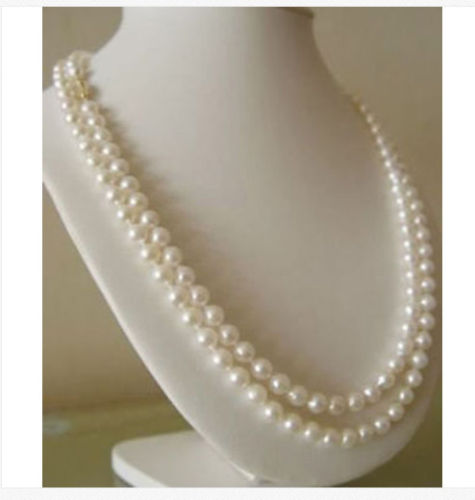 Hot selling free shipping******* double strands 8-9mm south sea white round pearl necklace 18